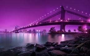 Картинка Мост, Ночь, Город, Берег