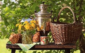Картинка зелень, солнце, цветы, природа, стол, корзина, букет, желтые, чашка, банка, натюрморт, одуванчики, самовар, кусты, скатерть, ...