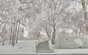 Картинка зима, иней, Набережная, метель, Павлодар