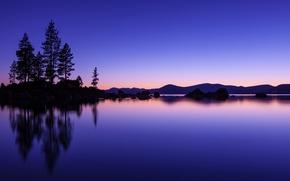 Картинка небо, вода, деревья, закат, оранжевый, озеро, гладь, отражение, синева, холмы, берег, вечер, США