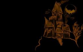 Картинка дом, праздник, луна, рисунок, moon, house, летучие мыши, halloween, 1920x1080, holiday, picture, bats