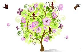 Картинка цветы, птицы, дерево, коллаж, весна
