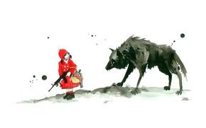 Картинка оружие, волк, красная шапочка, девочка