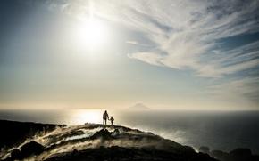 Картинка море, люди, утро