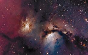 Обои космос, звёзды, LRGB, Отражательная туманность, M78, созвездие Ориона
