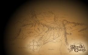 Картинка Властелин колец, золото, Гондор, карта