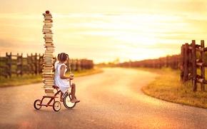Обои велосипед, книги, девочка, Back To School