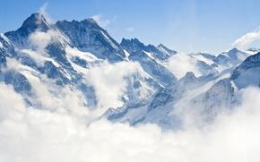 Картинка зима, пейзаж, горы, природа, туман