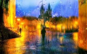 Обои Прага, ночь, капли, дождь, Чехия