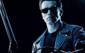 Обои очки, Терминатор 2, Арнольд Шварцнеггер, дробовик