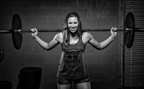 Обои fitness, weightlifter, black and white, weight bar, smile