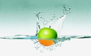 Обои яблоко, вода, обоя, брызги