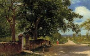 Обои пейзаж, картина, Альберт Бирштадт, Улица в Нассау