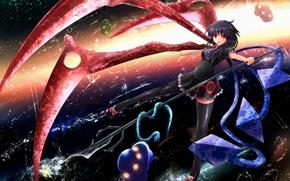 Картинка девушка, космос, оружие, крылья, НЛО, аниме, арт, трезубец, бантики, touhou, houjuu nue, замея, kanna211