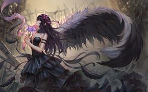 Обои цветы, перья, крылья, арт, девочка-волшебница мадока, ленты, аниме, mahou shoujo madoka magica, akemi homura, девушка, ...