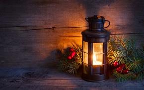 Картинка зима, свет, елка, свеча, ель, ветка, Новый Год, Рождество, фонарь, Christmas, праздники, New Year