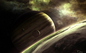 Картинка moon, stars, planets, different colors, Sci Fi, different sizes