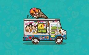Обои вектор, мороженое, фургон