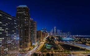 Картинка дорога, огни, улица, здания, Чикаго, Иллинойс, ночной город, Chicago, Illinois, Harbor Square