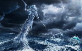 Картинка море, девушка, тучи, шторм, монстр, дух, арт, копье