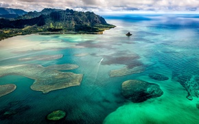 Картинка море, небо, облака, горы, бухта, hawaii