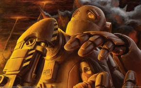 Обои война, робот, Девушка