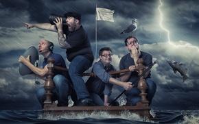 Картинка шторм, мужики, плот