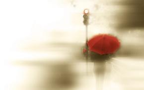 Картинка девушка, стиль, зонт, светофор