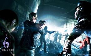 Картинка пистолет, рельсы, zombie, Leon Scott Kennedy, Helena Harper, Леон Скотт Кеннеди, resident evil 6, apocalypse, …