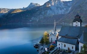 Обои Альпы, Гальштат, горы, Австрия, церковь, Гальштатское озеро, озеро, Austria, Hallstatt, Lake Hallstatt, Alps