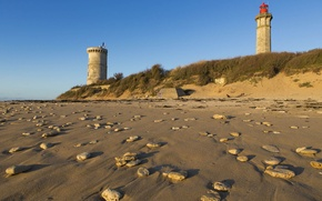 Картинка Beach, France, Sand, Lighthouse, Ile de Ré, Charente Maritime, Phare des Baleines