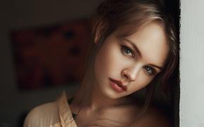 Обои Портрет, Волосы, Губы, Взгляд, Анастасия Щеглова, Девушка, Лицо