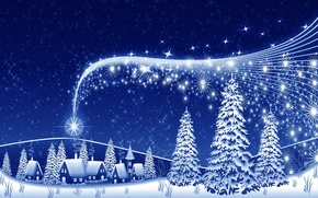 Картинка ночь, праздник, новый год, рождество, домики, christmas, ёлки