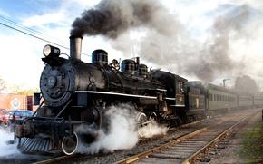 Картинка дорога, рельсы, паровоз, вагоны, железная, состав, Steam train, railways, locomotive