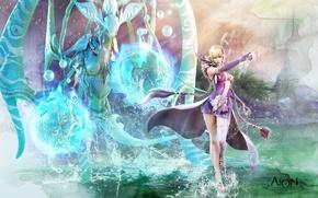 Обои вода, aion, магия, девушка, маг, существо