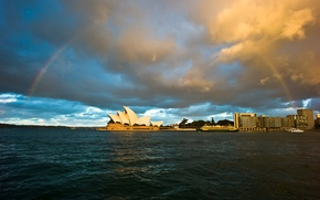 Картинка радуга, тучи, театр, Сидней, город, вода, Австралия, Sidney, небо, Australia