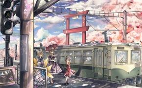 Картинка радость, девушки, настроение, поезд, сакура, перрон, art, Touhou, yakumo yukari, qiannn