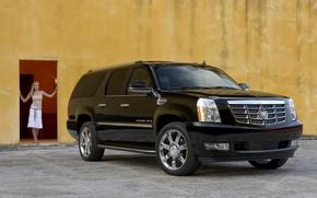 Обои Cadillac-Escalade, девушка, черный