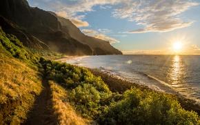 Картинка море, небо, солнце, облака, скалы, рассвет, побережье, горизонт, Гавайи, Kalalau