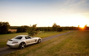 Картинка СЛС, Mercedes-Benz, АМГ, вид сзади, дорога, SLS, AMG, суперкар, Мерседес, небо, серебристый, закат, mcchip dkr, ...