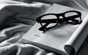 Картинка белое, черное, очки, ткань, тетрадь, разное