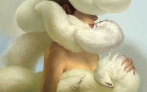 Картинка девушка, нежность, арт, мех, много, Yukari Masuike, хорьки
