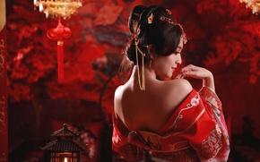 Обои национальный, прическа, спина, девушка, этно, китайский, настроение, азиатка