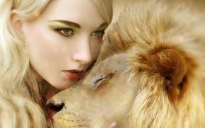 Картинка кошка, девушка, хищник, лев, объятия, грива