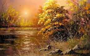 Картинка осень, солнце, пейзаж, закат, река, камни, картина, вечер, живопись, Ходюков, мастихин