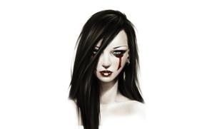 Картинка Девушка, раскраска, серьга, красные губы
