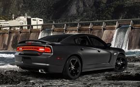 Картинка Dodge, charger, r/t fast five, додж, чарджер, чёрный, вид сзади