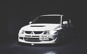 Обои Белая, Mitsubishi, Lancer, Japan, Car, White, Shadow, Лансер, Митсубиши, Evolution 9