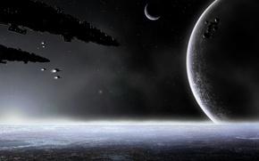 Картинка космос, планеты, корабли, space