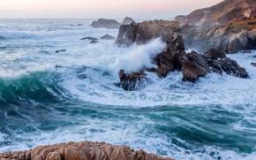 Картинка волны, скалы, Калифорния, Pacific Ocean, California, Тихий океан, Big Sur, Биг-Сур, Garrapata State Park